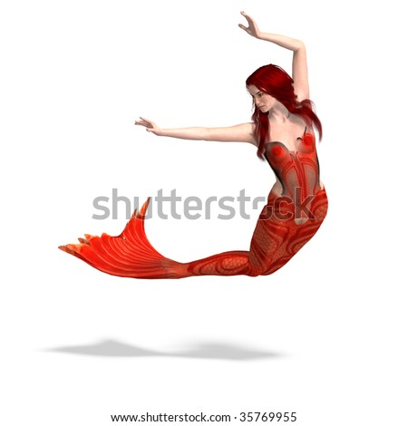 beautiful mermaid. 3D render with clipping path and shadow over white - stock photo