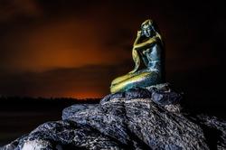 Beautiful mermaid in Songkhla, Thailand. Night background