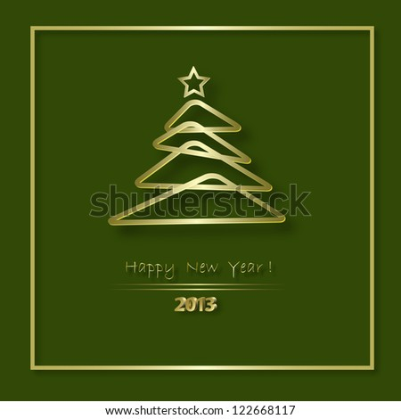 Beautiful Merry Christmas  card with golden patterns and balls, raster version