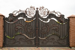 Beautiful metal gates with forged elements, protection of a private house