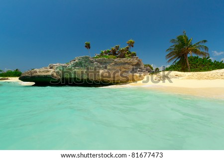 Beautiful Mexican beach - stock photo