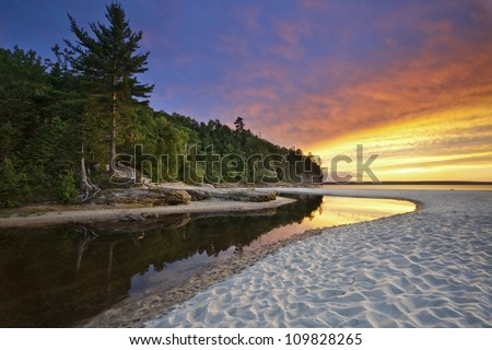 Beautiful Michigan Landscape. Image of Miners Beach at Pictured Rock National Lakeshore, Michigan, USA.