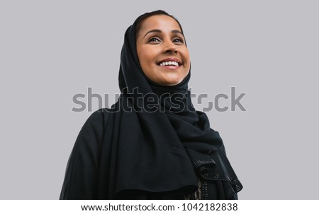 Beautiful middle eastern woman wearing abaya