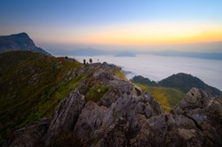 Beautiful misty mountain landscape view in morning at Doi Pha mon peak viewpoint in Chiang Rai province, Thailand
