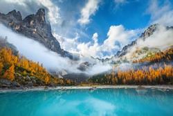 Beautiful misty mountains and colorful yellow larches on the shore of the lake Sorapis. Breathtaking autumn scenery in the Dolomites, Italy, Europe