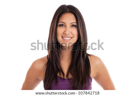 Beautiful mixed race Mexican and Japanese woman portrait isolated on white