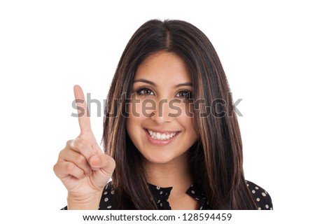 Beautiful mixed race Mexican Japanese businesswoman showing number one with finger isolated on white background