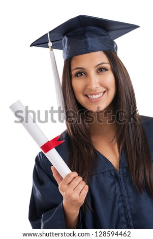 Beautiful mixed race Mexican Japanese college graduate wearing cap and gown holding diploma isolated on white background