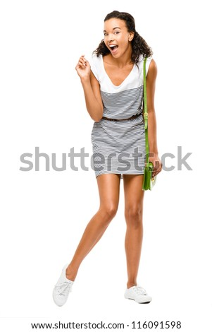 Beautiful mixed race Woman in shock portrait isolated on white background