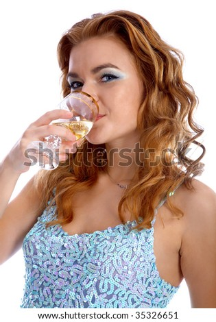 beautiful model in blue dress with champagne in her glass