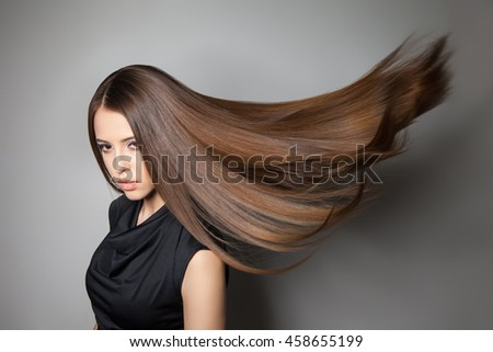 Beautiful model with smooth flying hair #458655199