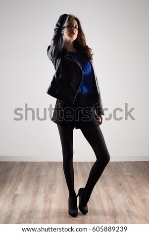 Beautiful model woman with leather jacket #605889239