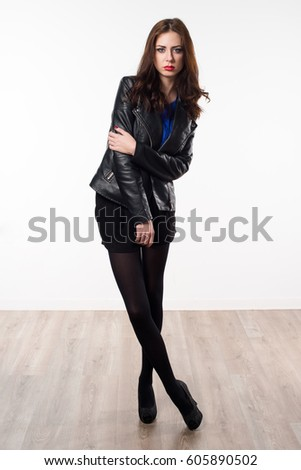 Beautiful model woman with leather jacket #605890502