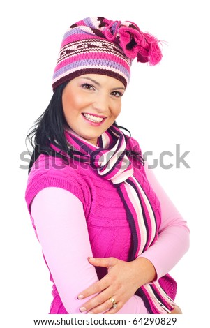 Beautiful model woman with toothy smile in pink knitted clothes isolated on white background - stock photo