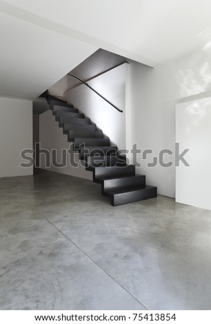 beautiful modern apartment, black staircase
