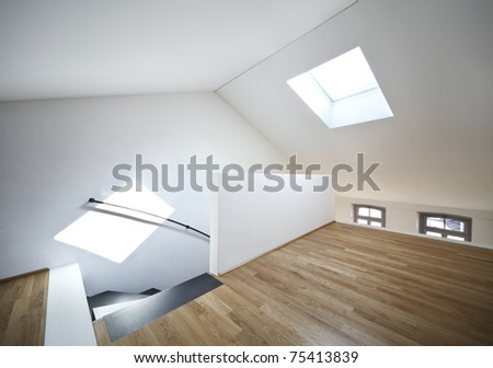 beautiful modern apartment, view of room under the roof