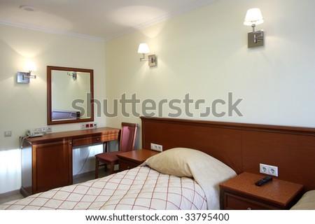 Beautiful modern bedroom in hotel