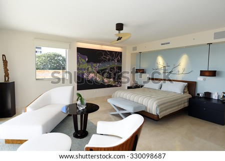 Beautiful modern furniture in a master bedroom suite.
