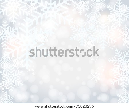 Beautiful modern, glittering bokeh winter background illustration with snow