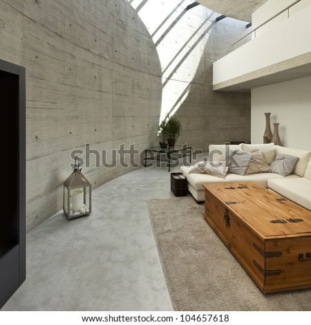 Beautiful Modern House In Cement Interior Living Room Stock Photo