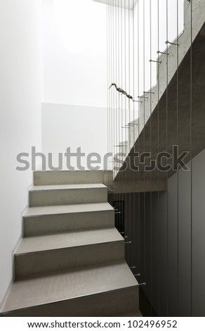 beautiful modern house in cement, interior, staircase