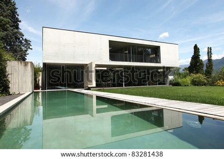 beautiful modern house outdoors, pool view