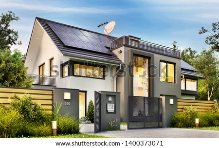 Beautiful modern house with garden and solar panels on the gable roof. 3d rendering