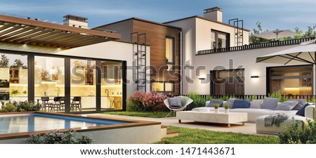Beautiful modern house with terrace and pool. 3d rendering