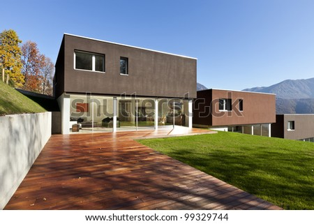 beautiful modern houses with garden, outdoor