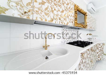 beautiful modern kitchen with a golden faucet
