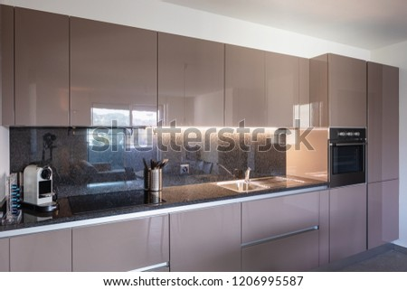 Beautiful modern kitchen with new appliances. Nobody inside
