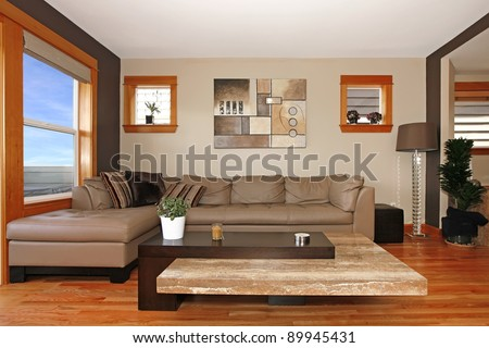 Beautiful modern living room interior - stock photo