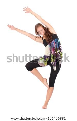 beautiful modern style dancer posing on white background