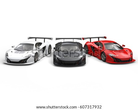 Beautiful modern super cars - red, black and white - 3D Render #607317932