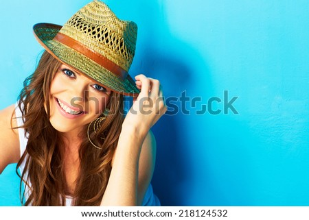 beautiful modern woman portrait with big natural toothy smile . face close up . straw hat #218124532