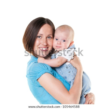 beautiful mom and her son isolated on white background
