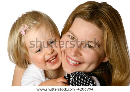 Beautiful mom and toddler girl playing tickle together, isolated on white.
