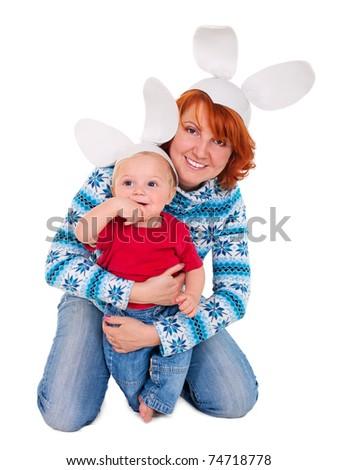 Beautiful mommy Bunny and precious baby Bunny