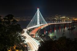 Beautiful momoent of Bay Bridge during sunset, San Francisco