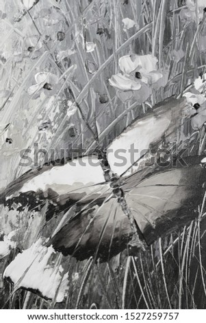 Beautiful monochrome painting with butterflies
