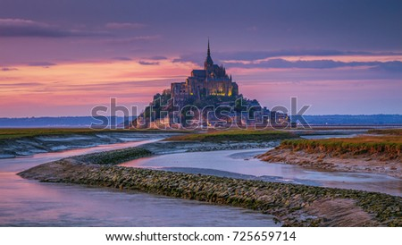 Beautiful Mont Saint Michel cathedral on the island, Normandy, Northern France, Europe