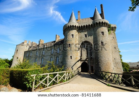 beautiful Montmarin castle in Brittany, France