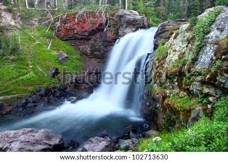 Beautiful Moose Falls in evening light at Yellowstone National Park - Wyoming