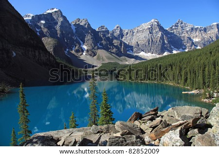 Beautiful Moraine Lake in Banff National Park, in Alberta, Canada