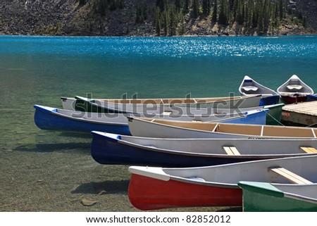 Beautiful Moraine Lake in Banff National Park, in Alberta, Canada
