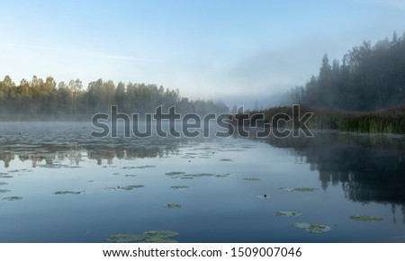 Beautiful morning fog on the lake. Forest, lake, in the fog. Mysterious fog #1509007046