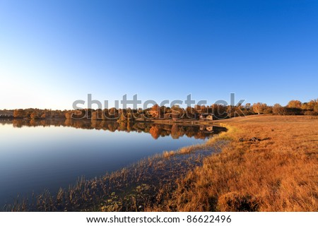 beautiful morning landscape of the lake at autumn