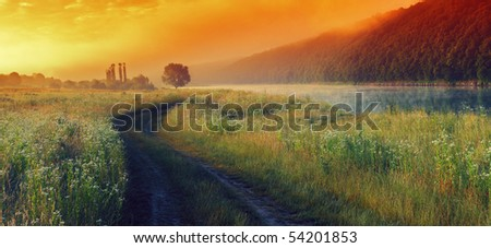 Beautiful morning landscape with the river
