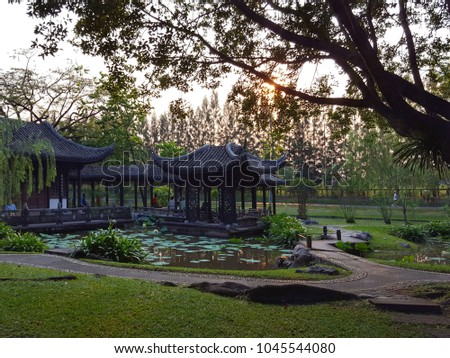 Beautiful morning light in public park with green grass field and green fresh tree at Bangkok ,Thailand. Fair in blurred and de-focus, Soft focus,Select focus #1045544080