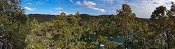 Beautiful morning panoramic view of a creek with boats in water from top of a mountain, Apple Tree Creek, Bobbin Head, Sydney,  New South Wales, Australia
